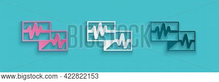 Paper Cut Computer Monitor With Cardiogram Icon Isolated On Blue Background. Monitoring Icon. Ecg Mo