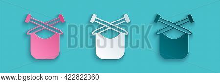 Paper Cut Knitting Icon Isolated On Blue Background. Wool Emblem With Knitted Fabric And Needle. Lab