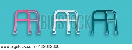 Paper Cut Walker For Disabled Person Icon Isolated On Blue Background. Paper Art Style. Vector