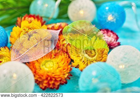 Layout Made Of Flowers And Leaves. Nature Concept. Floral Greeting Card. Colorful Spring Flower Back