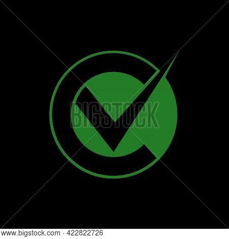 Letter C Design With Check Mark, Simple And Memorable Logo. Suitable To Be Applied To Companies In T