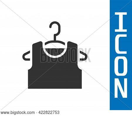 Grey Sleeveless T-shirt Icon Isolated On White Background. Vector