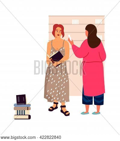 People In Library. Books Lovers Concept. Cartoon Reading University Students. Young Women Standing N