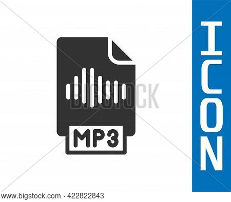 Grey Mp3 File Document. Download Mp3 Button Icon Isolated On White Background. Mp3 Music Format Sign