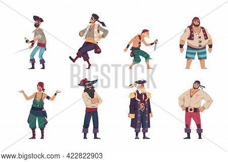 Pirate Characters. Cartoon Filibusters. Captain Of Sailboat And Marine Robbers. Sea Criminals Standi