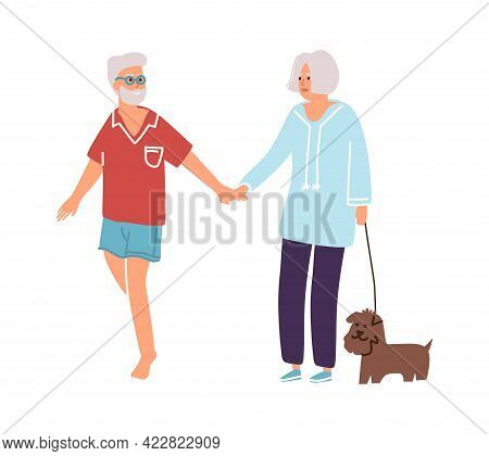 Cartoon Old People Walking With Dog Together. Senior Persons Holding Hands. Man And Woman Lead Puppy