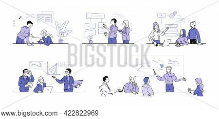 Business Training. Educational Courses For Businessman. People Teaches Office Workers, Shows Diagram