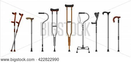 Realistic Canes. 3d Walking Sticks And Crutches. Medical Supplies For Old Or Injured Persons. Equipm