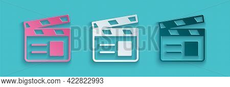 Paper Cut Movie Clapper Icon Isolated On Blue Background. Film Clapper Board. Clapperboard Sign. Cin