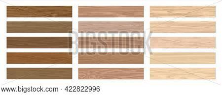 Wooden Floor. Realistic Interior Hardwood Flooring. Parquet Timber Samples Set. Isolated Decorative