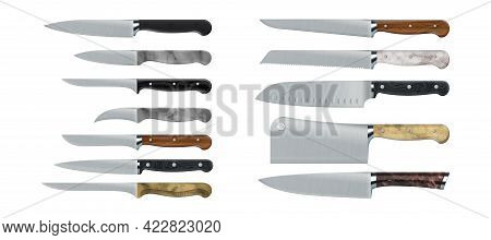 Kitchen Knives. Realistic Cooking Tools. 3d Sharp Stainless Steel Daggers With Wooden And Marble Han