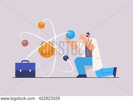 Research Scientist Working With Molecular Structure Man Researcher Making Chemical Experiment In Lab