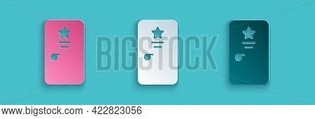 Paper Cut Backstage Icon Isolated On Blue Background. Door With A Star Sign. Dressing Up For Celebri