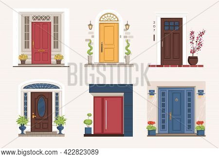 Outside Doors. Cartoon Residential Houses Entrances With Doorsteps. Exterior Architectural Elements.