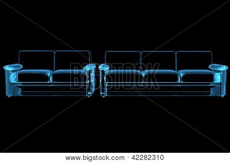 Sofa 3D rendered xray blue transparent isolated on black