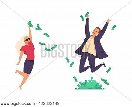 Rich People. Cartoon Millionaires Throwing Banknotes And Jumping. Flying Paper Money. Happy Man And
