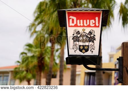 Bordeaux , Aquitaine France - 06 01 2021 : Duvel Lamp Beer Text Brand And Logo Sign Front Of Belgian
