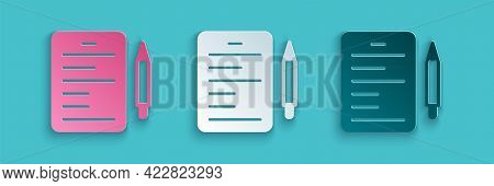Paper Cut Scenario Icon Isolated On Blue Background. Script Reading Concept For Art Project, Films,