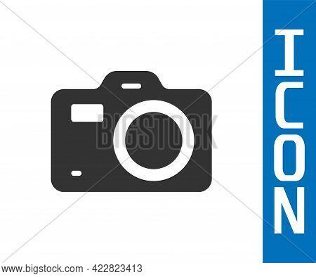 Grey Photo Camera Icon Isolated On White Background. Foto Camera. Digital Photography. Vector