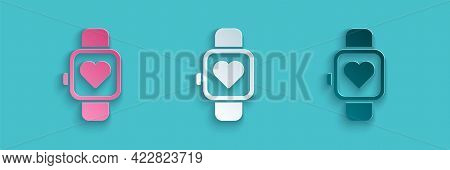 Paper Cut Smart Watch Showing Heart Beat Rate Icon Isolated On Blue Background. Fitness App Concept.