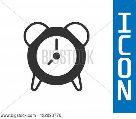 Grey Alarm Clock Icon Isolated On White Background. Wake Up, Get Up Concept. Time Sign. Vector