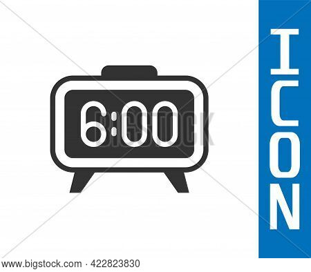 Grey Digital Alarm Clock Icon Isolated On White Background. Electronic Watch Alarm Clock. Time Icon.