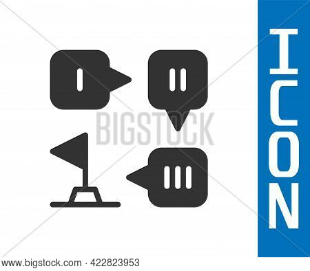 Grey Planning Strategy Concept Icon Isolated On White Background. Formation And Tactic. Vector