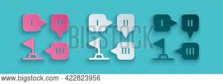 Paper Cut Planning Strategy Concept Icon Isolated On Blue Background. Formation And Tactic. Paper Ar