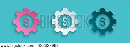 Paper Cut Gear With Dollar Symbol Icon Isolated On Blue Background. Business And Finance Conceptual