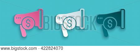 Paper Cut Megaphone And Dollar Icon Isolated On Blue Background. Loud Speech Alert Concept. Bullhorn