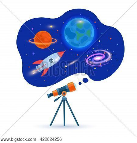Astronomical Telescope Tube, Space, Galaxy, Planets And Flying Rocket. Astronomical Space. Look At P