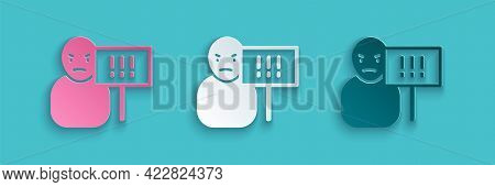 Paper Cut Protest Icon Isolated On Blue Background. Meeting, Protester, Picket, Speech, Banner, Prot