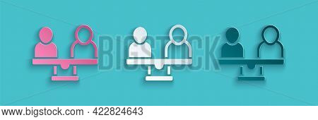 Paper Cut Gender Equality Icon Isolated On Blue Background. Equal Pay And Opportunity Business Conce