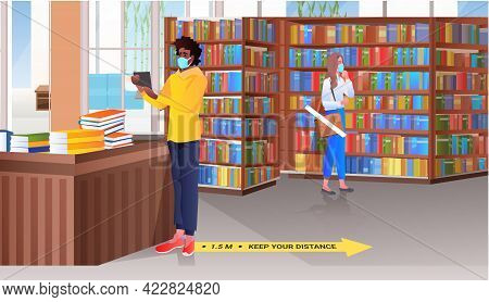 Mix Race People In Masks Choosing Books In Library Or Book Shop Coronavirus Quarantine Concept