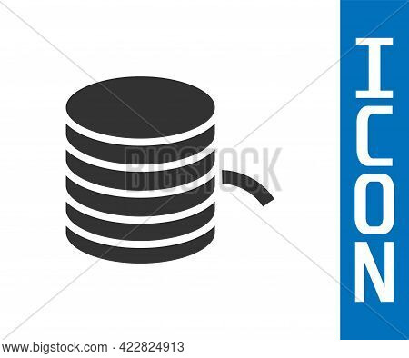 Grey Plastic Filament For 3d Printing Icon Isolated On White Background. Vector