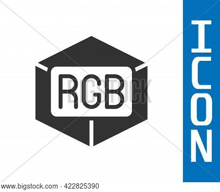 Grey Rgb And Cmyk Color Mixing Icon Isolated On White Background. Vector