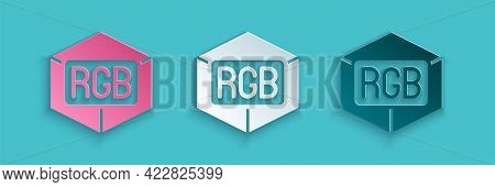 Paper Cut Rgb And Cmyk Color Mixing Icon Isolated On Blue Background. Paper Art Style. Vector