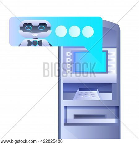 Atm Money Automatic Teller Machine Payment Terminal With Chatbot Robot Artificial Intelligence Techn