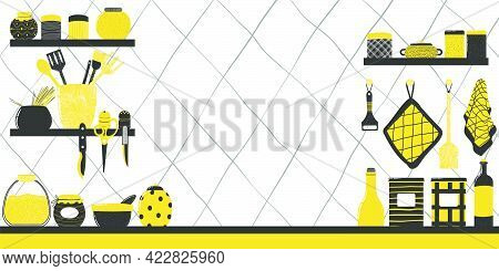 Hand Drawn Background With Kitchenware On Shelf In Flat Scandinavian Style And With Copy-space. Cute
