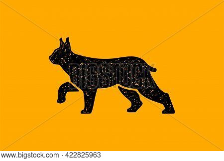 Vector Illustration Of A Walking Lynx. Wild Cat Isolated On Yellow Background.