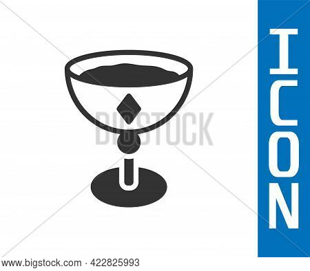 Grey Medieval Goblet Icon Isolated On White Background. Vector