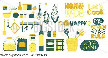 Kitchenware Icons Collection With Cute Quote. Cooking Utensil Hand Drawn Clip Art Set. Vector Illust