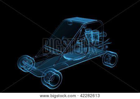 GoCart 3D rendered xray blue transparent