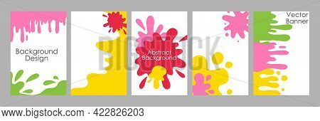 Trendy Blotch Background. Patterns Paint Stains Splashes Bright Colors. Hand Drawn Abstract Pait Blo