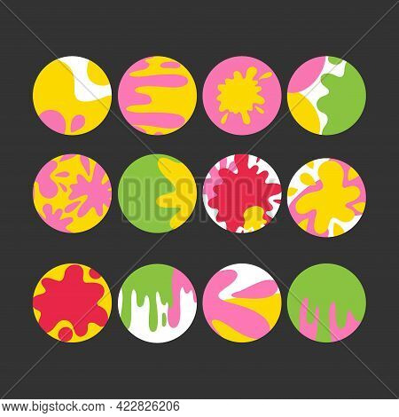 Highlights Stories Blotch Set. Bright Colors Painr Blob, Abstact Social Media, Minimal Stain Silhoue