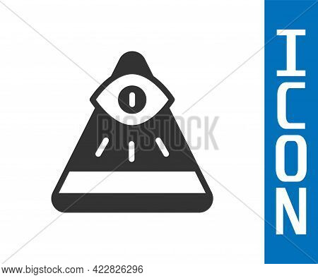 Grey Masons Symbol All-seeing Eye Of God Icon Isolated On White Background. The Eye Of Providence In