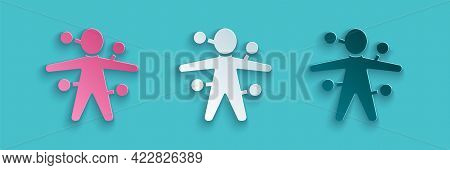 Paper Cut Voodoo Doll Icon Isolated On Blue Background. Paper Art Style. Vector