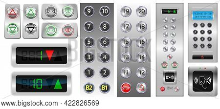 Set Of Realistic Elevators Buttons With Chrome Metal Door Or Three Iron Elevator In Factory Site Or