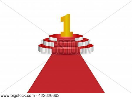 Number 1 On Red Podium Is The Winner Is In First Vector Illustration