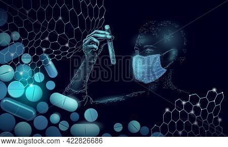 Woman Doctor Scientists Hold Test Tube. Safety Medical Mask Virus Capsule Vaccine Drug. Developing P